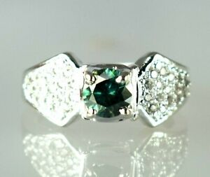 3.29 Ct   Green Diamond Solitaire Halo Men's Promise Ring