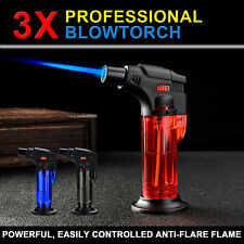 3x Blow Torch Jet Lighter Kitchen Tobacco Safety Lock Refillable Home Master