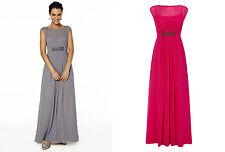 BHS Bridesmaid Dress Amelia Long Fuchsia Pewter Chiffon Size 10, 16, 18 BNWT