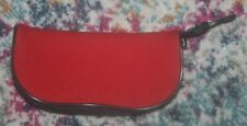 New Padded Red Zip Closure Eyeglass Case w/ Clip~sz 3x6 in.