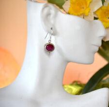 Sterling Silver Natural Ruby Gemstone Dangle Drop Hook Earring Jewelry