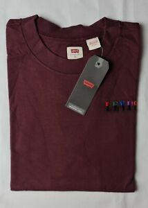 New Men Levis Burgundy Dark Red Heavyweight Cotton T-shirt Top S M L XL sizes