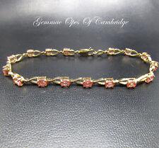 18ct Gold Padparadscha Sapphire Bracelet 20cm 10.9g 6.4carats