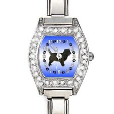 Cairn Terrier Cubic Zirconia Womens Stainless Steel Italian Charms Watch BJ1038