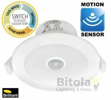 NEW BRILLIANT LUMASCAN CCT COLOUR CHANGING 9W LED DOWNLIGHT WITH MOTION SENSOR