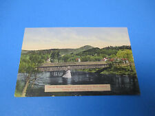 Wooden Bridge Between Fairlee vt and Orford Nh 1915 Vintage Color Postcard PC25