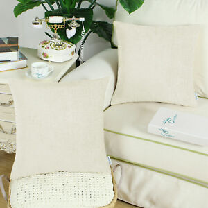 2Pcs CaliTime Cushion Covers Pillows Shell Solid Dyed Soft Chenille Sofa 55x55cm