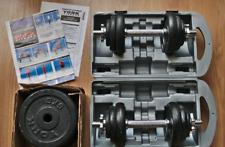 York 20 kg dumbbell set plus 4 x 5 kg cast iron plates (40 kg total)