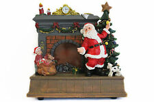 Kamin mit Flammen-Lichteffekt,Weihnachtsmann,Tannenbaum,Kind,15.5x15.5x11 cm