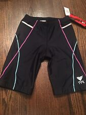 """TYR WOMENS COMPETITOR 8"""" COMPRESSION TRIATHLON EXCERCISE FITNESS SHORT BLACK"""