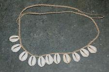 "Natural Hemp 30"" Surfer Necklace --  3/4 To 1"" Money Cowrie Shells--HC-12"