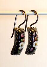 Black Small Hand Painted Rostov Finift Earrings White Flower Russian Enamel 1228