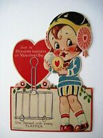 Vintage Antique Valentine Card Flapper Powdering Her Nose -Printed In Germany *