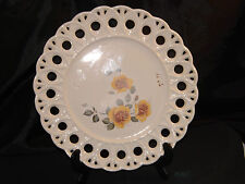 Vintage Pierced Open Edge Display/Cabinet Plate With Yellow Amber Rose Centre.