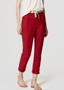 NWT Ann Taylor LOFT belted linen infused Safari pants beige red various sizes