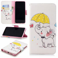 For Huawei Smart Phone Cute Elep PU Leather Flip Wallet Stand Slots Case Cover