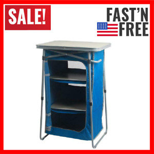 3 Shelf Collapsible Cabinet W/ Table Top Blue Durable Steel Frame W/ Table Top
