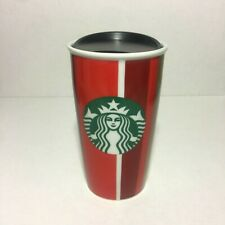 Starbucks 2018 Christmas Holiday Striped Ceramic Tumbler Travel Mug Coffee Cup
