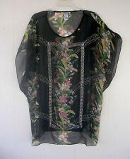 Alberto Makali sz XL Top Multi-color Floral Semi-sheer Fabric NWOT