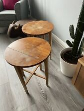 2 X Mid Century G PLAN FOLDING TABLE Circular Wooden TEAK Side Table Plant Stand