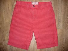 Men's Jack Wills Red Striped Cotton Knee length Beach Shorts Medium small s 30""