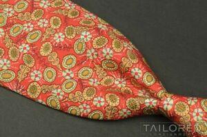 """HERMES 7710 OA Orange Geometric Floral 100% Silk Mens Luxury Tie - 3.375"""""""