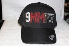 9MM PISTOL HANDGUN GUN BULLET HOLE BASEBALL CAP HAT ( BLACK )