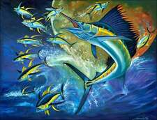 Ceramic Accent & Decor Tile Agudelo Sailfish Tuna Fish Wildlife Art FAA015AT