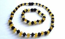 NATURAL RAW BALTIC AMBER, SET : NECKLACE & BRACELET, OF DIFFERENT LENGTH