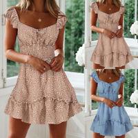 Womens Short Sleeve Floral Mini Dress Summer Party Beach A-Line Skater Dress US