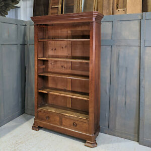 Antique French Teak & Pine 5 Shelf Bookcase with Drawers