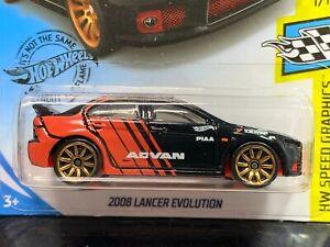 Hot Wheels 2008 Lancer Evolution Advan Long Card Black and Red 2018 JDM