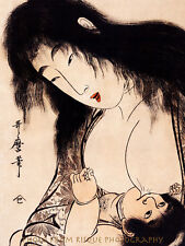 "Japanese Woman Breatstfeeding 8.5x11"" Photo Print Traditional Woodblock Kitagawa"