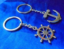 KEYRING Key Ring Chain Set Couple Double Fob Silver Pair WHEEL ANCHOR Love Gift