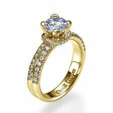 Solitaire with Accents Yellow Gold VVS1 Fine Diamond Rings
