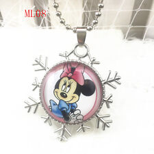 Disney mickey mouse Cabochon round glass Pendant silver Chain necklace QL08 .