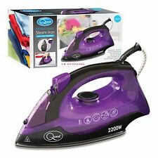 NON-STICK STEAM SPRAY IRON 2200W ELECTRIC COMPACT TEFLON SOLEPLATE NEW