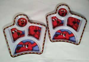Set of 2 - RARE Clifford The Big Red Dog Kid's Divided Melamine Plates  Dish GUC