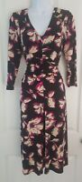 Womens Phase Eight Dress size 12 black floral fit&flare casual formal vgc