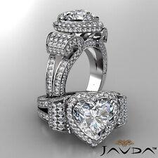 Antique Style Circa Halo Heart Diamond Engagement Pave Split Shank Ring 6.83 Ct