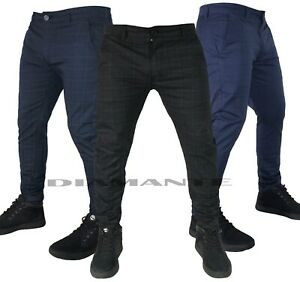 Pantaloni uomo eleganti chino slim fantasia Principe di Galles elasticizzati 411