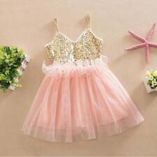 Kids Girls Princess Sweety Sequins Spaghetti Strap Toddler Tulle Tutu Dress 110