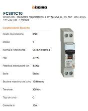 BTicino FC881C10 BTDIN45 interruttore magnetotermico  10A  1+N 4500K