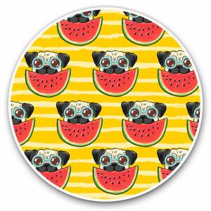 2 x Vinyl Stickers 10cm - Funny Pug Dog Watermelon Print Cool Gift #15796