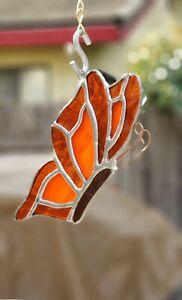 Stained Glass Sun catcher Handmade USA BUTTERFLY-ORANGE LG 7 x 4