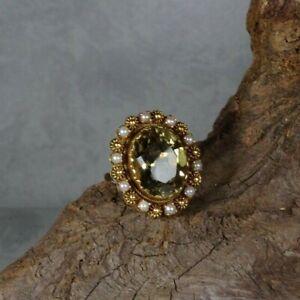 D28-82 / antiker Ring 14 K / 585 Gelbgold  kl. Saatperlen u. Citrin Gr. ca. 59