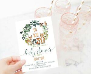 YOU PRINT Woodland Animal Baby Shower Invitation, Personalised Digital Invite