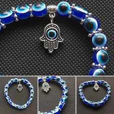 Unisex Blue Evil Eye Charm Kabbalah Hand Of Fatima Tibetan Silver Bracelet