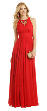 Women's Badgley Mischka Chiffon Ruby Red Gala Gown – Size 4 – Crinkle Chiffon