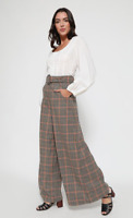 Lindy Bop 'Adonia' Vintage 1930s Rustic Check Tweed Wide Leg Trousers BNWT Sz 18